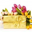 Giftbox and flowers isolated on the white background - Stock Photo