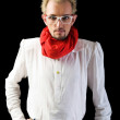 Man with red scarf on the black — Stock Photo #4444745
