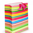 Striped gift bag isolated on the white background — Stock Photo #4446576
