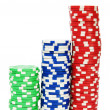 Casino chips isolated on the white background — Stock Photo