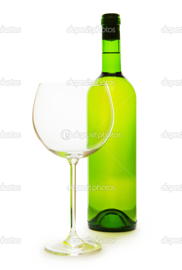Wine and glass isolated on the white background — Stock Photo #4443755