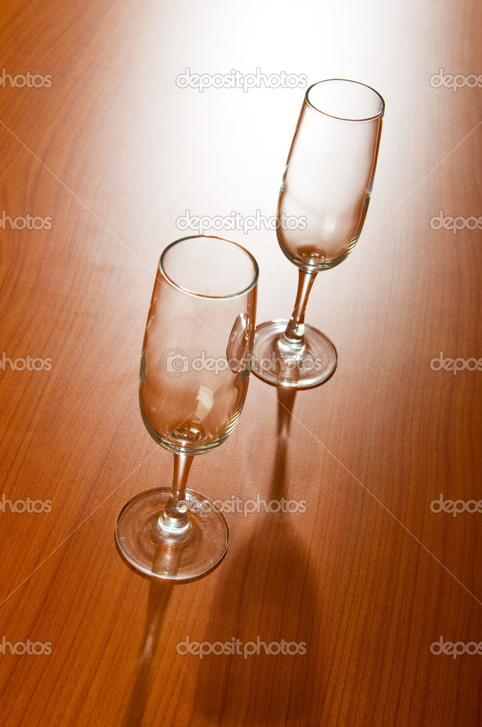Wine glass on the wooden table — Stock Photo #4444181