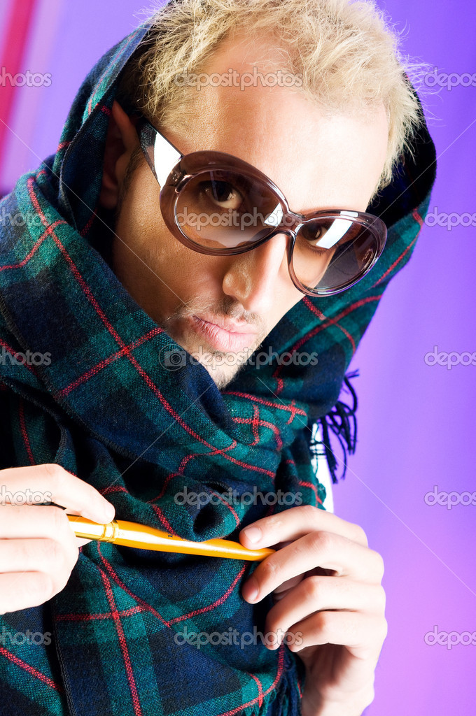 Man with glasses in studio shooting  Stock Photo #4445020