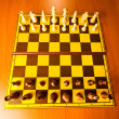 Set of chess figures on the playing board — Stock Photo