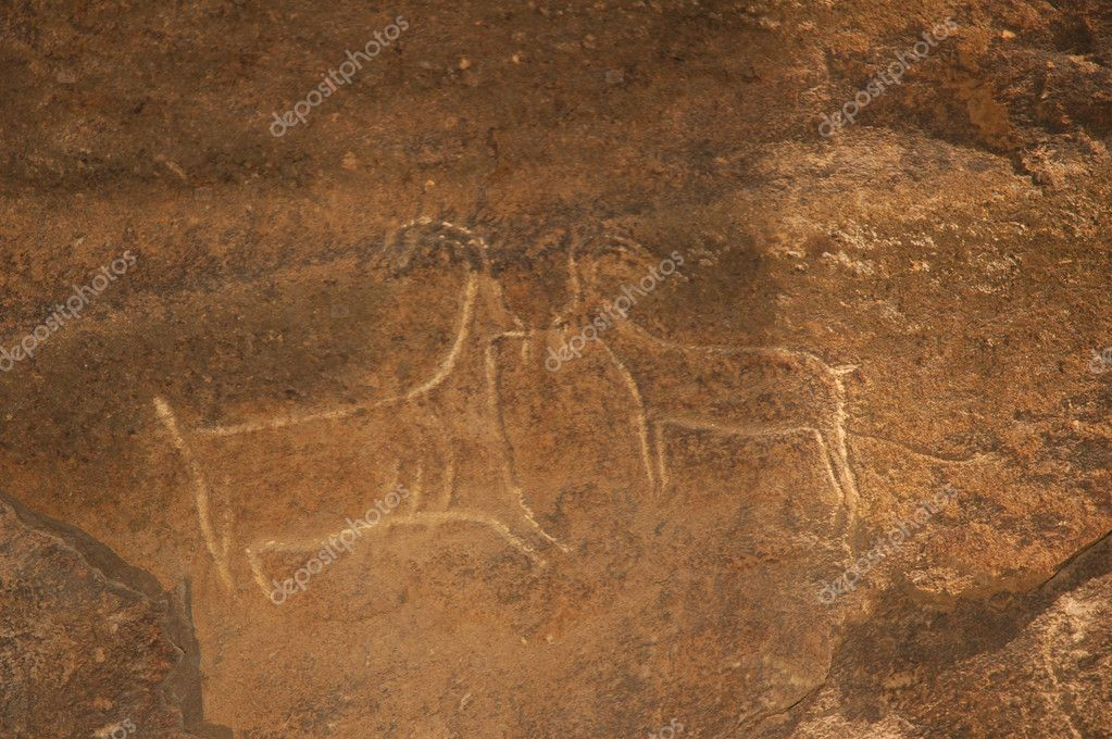 Ancient carvings of bulls on the stone gobustan