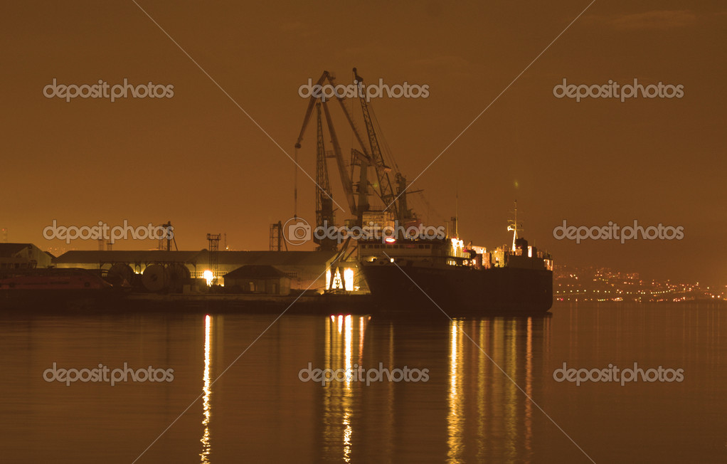 Baku port at night at dusk — Stock Photo #4453235