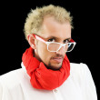 Man with red scarf on the black — Stock Photo #4461137