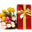 Giftbox and flowers isolated on the white background - Lizenzfreies Foto