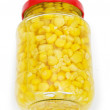 Sweet corn in glass jar isolated on white — Stock Photo #4480107