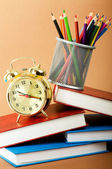 Back to school concept with books and pencils — Stock Photo