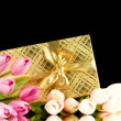 Celebration concept - gift box and tulip flowers - Lizenzfreies Foto