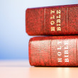 Bible books against the colorful gradient background - Stockfoto
