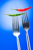 Hot pepper on the fork against colour background — Stockfoto