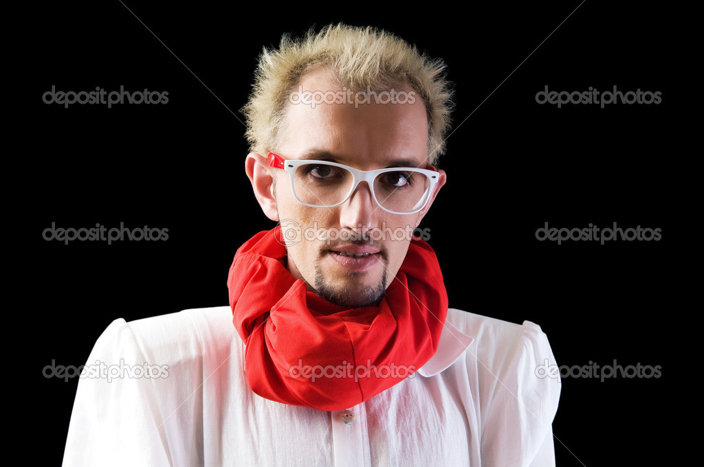 Man with red scarf on the black  Stock Photo #4507674