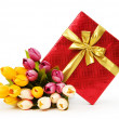 Giftbox and flowers isolated on the white background - Photo