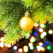 Christmas decoration and blurred lights at background — Stock Photo