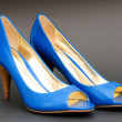 Fashion concept with blue woman shoes on high heels — Stock Photo #4514877