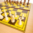 Set of chess figures on the playing board — 图库照片