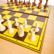 Set of chess figures on the playing board — Foto Stock