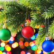 Christmas decoration and blurred lights at background — Stock Photo #4517707