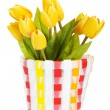 Pot of colorful tulips isolated on white — Stock Photo