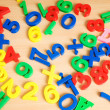 Children letters and digits on the table — Photo