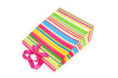 Striped gift bag isolated on the white background — Stok fotoğraf