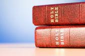 Livros da bíblia contra o fundo colorido gradiente — Foto Stock