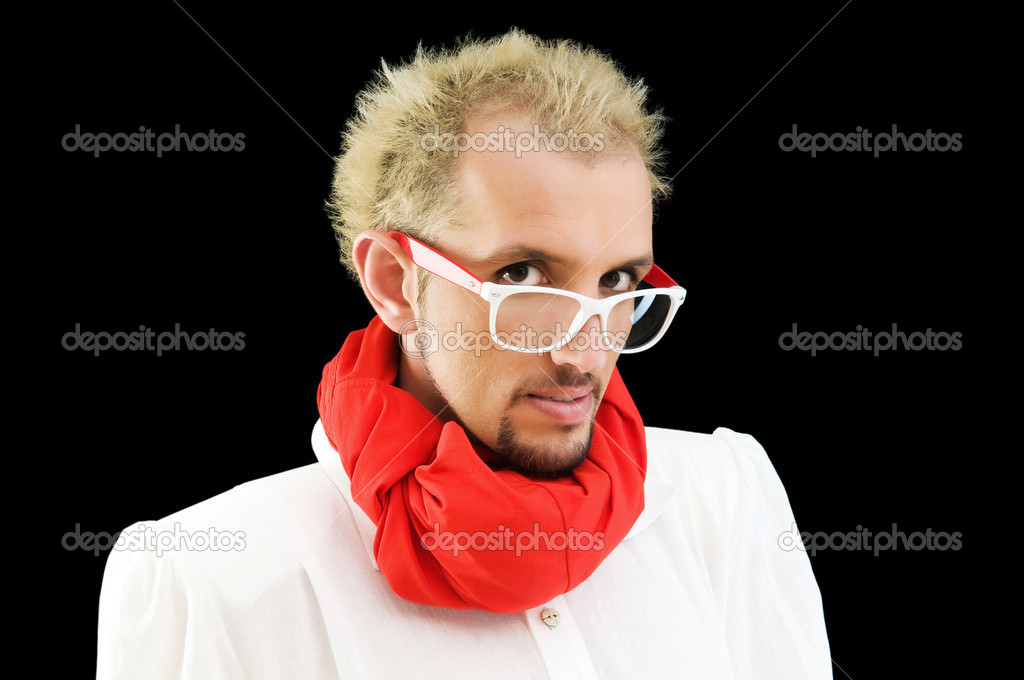 Man with red scarf on the black — Stock Photo #4511097