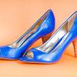 Fashion concept with blue woman shoes on high heels — Stock Photo #4522562
