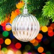 Christmas decoration and blurred lights at background — Stock Photo #4523189