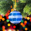 Christmas decoration and blurred lights at background — Stock Photo #4523252