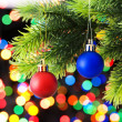 Christmas decoration and blurred lights at background — Stock Photo #4523481