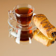 Stock Photo: Teand croissants on reflective background