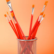 Red art brushes on the color background — Stockfoto