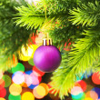 Christmas decoration and blurred lights at background — Stock Photo #4526760