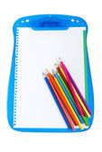 Binder and pencils isolated on the white background — Stock Photo