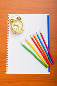 Binder and pencils isolated on the background — Stock Photo