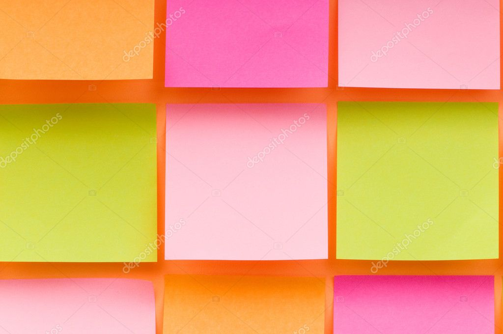 Reminder notes on the bright colorful paper  Stock Photo #4527706