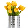 Pot of colorful tulips isolated on white — Stock Photo #4532160