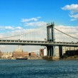Stock Photo: brooklyn bridge in new york on bright summer day