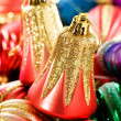 Colourful christmas decoration on a shiny background — Stockfoto