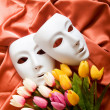 Theatre concept with the white plastic masks — Stock Photo #4536532