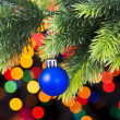 Christmas decoration and blurred lights at background — Lizenzfreies Foto