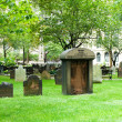 Cemetery with many tombstones on the bright day — Stock Photo #4542176