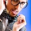 Man with glasses in studio shooting — Stock Photo #4542311