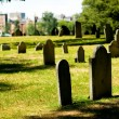 Cemetery with many tombstones on the bright day — Stock Photo #4542345