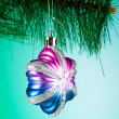 Christmas decoration against the colorful gradient background — Стоковая фотография