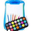 Art concept with painters palette and paint brush — Stock Photo #4546456