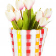 Pot of colorful tulips isolated on white — Stock Photo #4547544